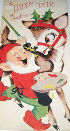 Elf & Deer Christmas Card