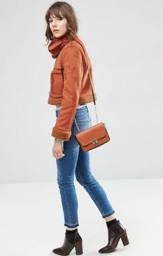 ASOS Cropped Faux Shearling Jacket with Funnel Neck