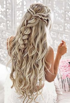 Half Up with twists and a pull through braid