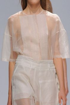 Transparency - sheer panelled top & trousers in a relaxed fit; fashion details // Christian Wijnants: