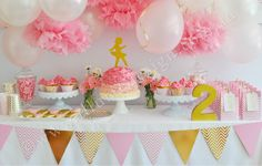 Gold and pink ballerina party. Gold and pink partyware from www.illumedesign.com.au