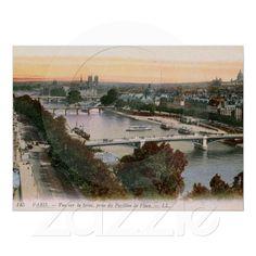 Vue sur la Seine, Paris, France Vintage Poster from Zazzle.com