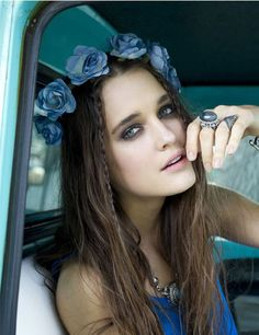 style inspiration: floral crown, wavy hair, braids