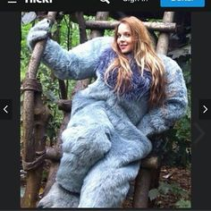 Girl in bigfoot mascot #heavycostume #unmasked #unmaskedwoman #longhair #beautiful #mascot #mascotsuit #bigfoot #bigfootcostume #gloves #bigbody #bigco...