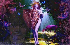 Monica Croese for Splash splash kisses. Digital Collage, Digital Art, Dream Baby, Daydream, Fairy Tales, Aurora Sleeping Beauty, Kisses, Prints, Painting