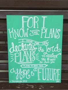 Canvas art bible verse Jeremiah 29:11 can be customized in all colors! BMK
