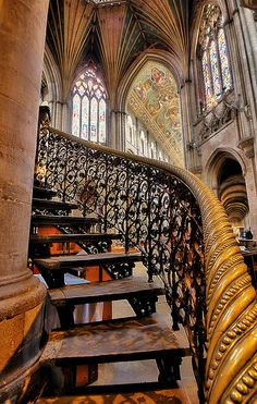 Stairway to Heaven Ely Cathedral, Cambridgeshire England Beautiful Architecture, Beautiful Buildings, Art And Architecture, Architecture Details, Cathedral Architecture, Grand Staircase, Staircase Design, Open Staircase, Spiral Staircases