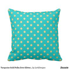 Turquoise Gold Polka Dots Glitter Pattern Decor