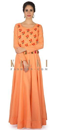 Orange dress in cotton silk embellished in floral embroidery in resham only on Kalki