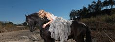 What a beautiful shot. This wedding dress is from Jenny Lee! #westernwedding #countrywedding #horse