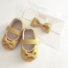 M2M Matilda Jane Once Upon A Time Collection Handmade Soft Soled Baby Shoes mustard Toddler Shoes Plum Shoes Mustard baby Shoes - Maple