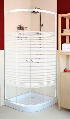 Mampara de ducha de apertura corredera para plato angular de 75x75 cm con cristal serigrafiado y perfil en color blanco, modelo Primo.