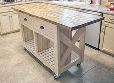 Kitchen Islands Kitchen Do It Yourself Natural Wooden Butcher Block Island With Double Drawers And Shelves On Creamy Tile Floor Design Custom Islands Plus Table Encharting Storage butcher block kitchen island table Kitchen Island Bench, Diy Furniture Plans, Butcher Block Kitchen, Diy Kitchen Island, Kitchen Island Decor, Kitchen Island Plans, Rustic Kitchen, White Kitchen Island, Butcher Block Island Kitchen