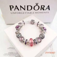 Pandora charm bracelt with purple deluxe theme charms $ 276 #pandoracharmbracelet#pandoracharms#pandoranew#hot#925sterlingsilverbracelet#europeancharmbracelet#muranoglass