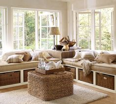 Stratton Daybed with Baskets | Pottery Barn Looks like Built ins but is really two daybeds under the windows!