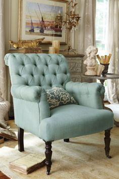 Auvergne Chair - Rolled Back Chair, Tuft Back Chair, Blue Linen Chair | Soft Surroundings $400