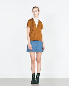 Image 1 of FAUX SUEDE TOP from Zara
