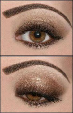 Just get a dark brown eye pencil (or shadow) to apply all around the eye. Then use a bronze eyeshadow. #brown #smokey #eyes