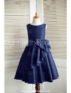 A-line Knee-length Flower Girl Dress - Taffeta Sleeveless 2017 - $69.99