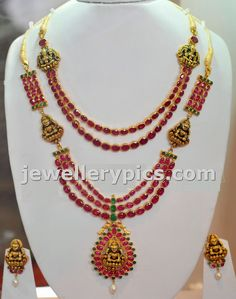Ruby Haram with antique gold work - Latest Jewellery Designs