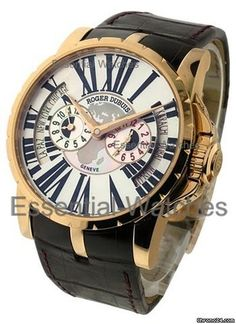 Roger Dubuis Excalibur 3 Time Zone Europe/Africa Special Edition 28p - Rose Gold on Strap with Silve