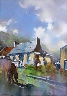 """""""Farm Cottage"""" Mourne - Northern Ireland thomas w schaller watercolor 22x15 inches 18 sept. 2014"""