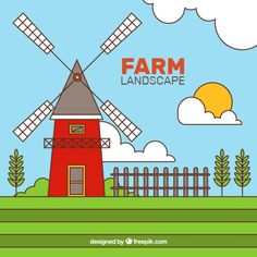 Mill in a farm landscape with outline Free Vector