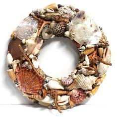 Rattan, Driftwood & Seashell Wreath  #driftwood, #californiaseashellcompany