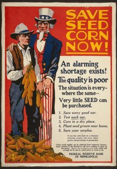 WW1 poster highlighting the shortage of seeds for planting during wartime.