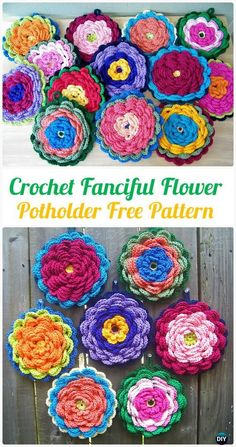 Crochet Fanciful Flower Potholder Free Pattern - Crochet Pot Holder Hotpad Free Patterns
