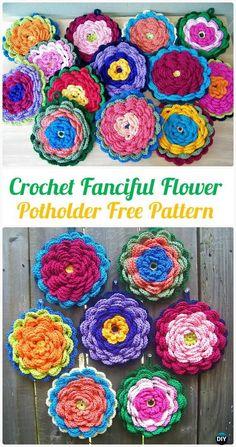 Crochet Fanciful Flower Potholder FreePattern - Crochet Pot Holder Hotpad Free Patterns