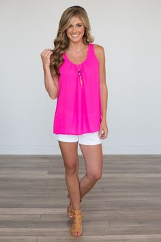 Pleated Tank - Hot Pink - Magnolia Boutique