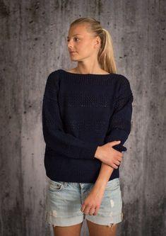 Gratis strikkeopskrift med lille hulmønster på sweater