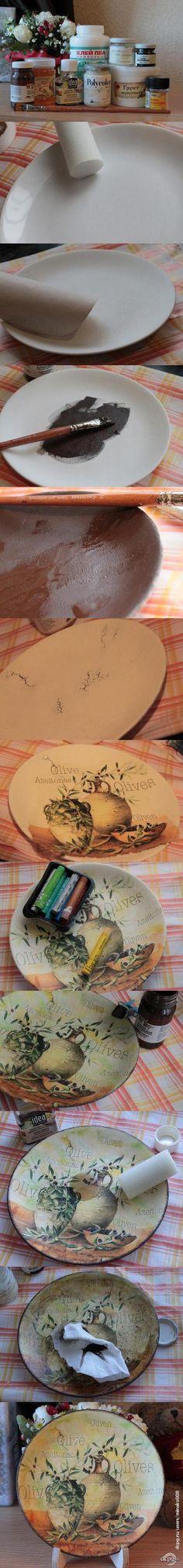 "Декупаж - Сайт любителей декупажа - DCPG.RU | Декорируем тарелочку ""Olives"""