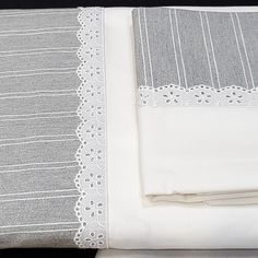 SÁBANAS EMBOZO RAYAS GRIS Cotton Bedding, Crib Bedding, Linen Bedding, Heirloom Sewing, Lace Making, White Pillows, Bed Covers, Home Textile, Bed Spreads