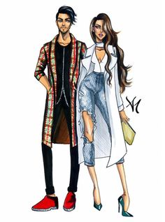 """Couple Stereotypes - """"The Cool Kids"""" - by Armand Mehidri Costume Design Sketch, Dress Design Drawing, Dress Design Sketches, Fashion Design Sketchbook, Fashion Design Drawings, Fashion Sketches, Croquis Fashion, Arte Fashion, Fashion Poses"""