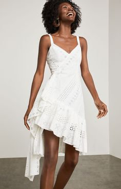 Asymmetrical Cotton Eyelet Dress | BCBG.com