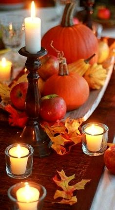 pumpkins and candles....