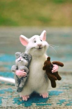 MADE TO ORDER! Rat and cat Rat with fingers Rat and bear White rat Felt rat Doll Cute rat Cute mouse Rat and bear Mouse with fingers Cat Rat - Filzen - Katzen Needle Felted Animals, Felt Animals, Cute Baby Animals, Needle Felting, Funny Animals, Rats Mignon, Cute Rats, Felt Mouse, Cute Mouse