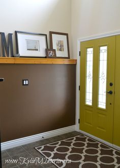 entryway with inside of front door painted CIL Golden chartreuse with benjamin moore char brown and dune Yellow Front Doors, Painted Front Doors, Front Door Colors, Door Paint Colors, Best Paint Colors, Paint Colors For Home, Kids Crafts, 80s Interior Design, Faux Stone Panels