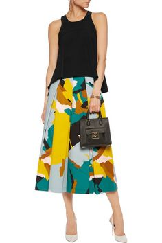 MILLY Pleated printed stretch cotton-twill culottes