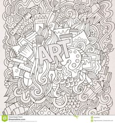 Illustration about Art hand lettering and doodles elements background. Illustration of canvas, album, logo - 49540334 Coloring Pages For Grown Ups, Coloring Book Pages, Printable Coloring Pages, Doodle Lettering, Hand Lettering, Doodle Background, Doodles, Doodle Art Journals, Art Worksheets