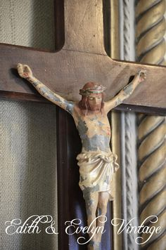 Antique Crucifix Polychrome from Louisiana by edithandevelyn on Etsy