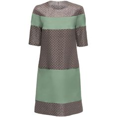LATTORI Deluxe Harmony, Grey and Green Shift Dress (455 BAM) ❤ liked on Polyvore featuring dresses