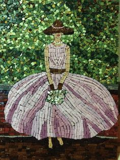 Glass Mosaic Art Lady in Pink Dress and Hat // Whimsical Wall Decor // Nursery Art // Fashion Art