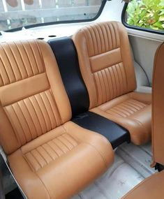 Hows this back seat! - Thanks for supporting our page! Car Seat Upholstery, Cleaning Car Upholstery, Automotive Upholstery, Mini Cooper Classic, Classic Mini, Classic Cars, Mini Cabrio, Mini Morris, Truck Tattoo