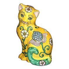 CERAMICHE D'ARTE PARRINI - Italian Ceramic Big Cat Figurine Yellow Art Pottery Deruta Made in ITALY Tuscany. Ceramic Big Cat , figurine . Decoration : hand painted floreal yellow . - Net weight Kg.1,000 , Dimension: (13,38 inch )x (8,66 inch) . - By purchasing directly from the manufacturer of Tuscan craft, you can ask if you want, any other customization , or you can buy now so as you see in the picture and you will be sent the day after the payment ( with certificate of authenticity…