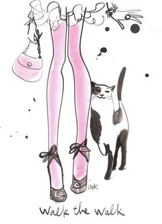 Walk the Walk by Izak Zenou for iPhone 6 Black Bezel Deflector She And Her Cat, Matou, Fashion Sketches, Fashion Illustrations, Modern Witch, Cute Illustration, Dog Art, Crazy Cats, Female Art