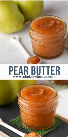 "Pear butter isn't ""butter"" in the true sense of the word. Dairy free, this pear butter is apple butter's cousin-- a deeply spiced puree of fruit easily made in the Instapot or Crock Pot. #pears #fruitbutter #instantpot #crockpot #slowcooker #homemade #preserves #abakershouse #thanksgiving #foodvideo #recipevideo #easyrecipe"