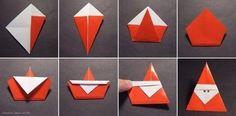 DIY ideas and tutorials - Origami Santa DIY Ideen und Tutorials - Origami Santa Origami Diy, Design Origami, Origami And Kirigami, Origami Paper, Diy Paper, Paper Crafting, Origami Ideas, Simple Origami, Oragami